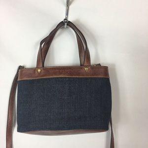 Relic Denim Faux Leather Blue Crossbody Bag Purse